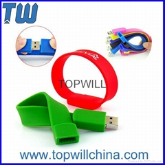 Silicon Wristband Bracelet Usb Flash Disk with Company Logo for Company Gift