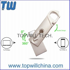 Slim Rotating Swivel Usb 3.1 Type C Flash Drive 32GB Buckle Design Fast Delivery