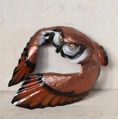 Applique hunter owl in sheet metal wrought