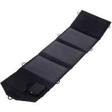 14W Dual Output Foldable Portable Solar Panel Charger - Black