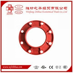 FM UL approval ductile iron grooved pipe fittings adaptor flange