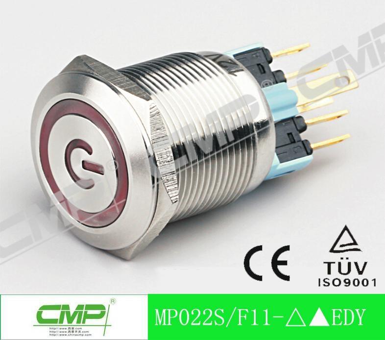 22mm Waterproof Illuminated LED Momentary Metal Push Button Switch 1