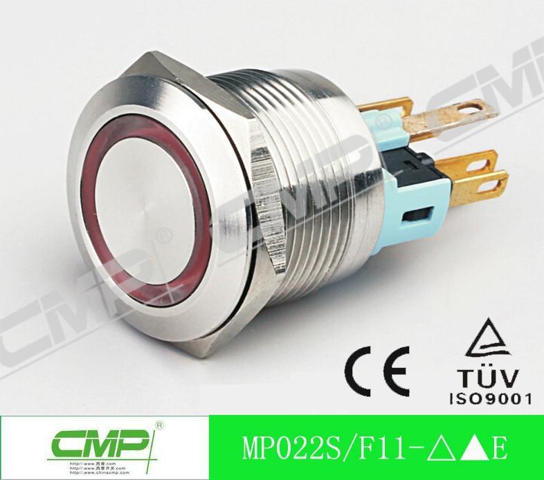 22mm Waterproof Illuminated LED Momentary Metal Push Button Switch 3