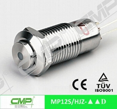 cheap 12mm metal waterproof ring LED push button switch