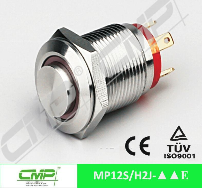 cheap 12mm metal waterproof ring LED push button switch 5