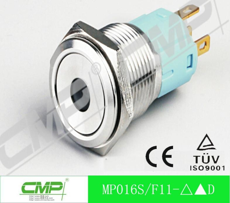 16mm ring illuminated led stainless steel waterproof push button switch 1