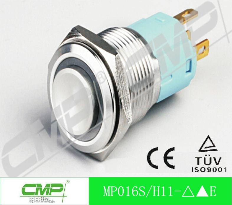 16mm ring illuminated led stainless steel waterproof push button switch 3