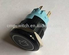 CMP IP67 metal or plastic waterproof black illuminated push button switch
