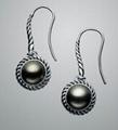 David Yurman Black Pearl Cable Wrap Drop Earrings