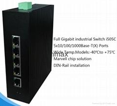 5 RJ45 ports Full Gigabit Unmanaged Industrial Switch for IP camera i505C