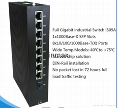 9 ports full gigabit networking switch with 1x1000BaseX SFP for IP camera i509A