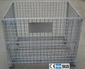 Folding Wire Mesh Container with Casters Steel Storage Cage