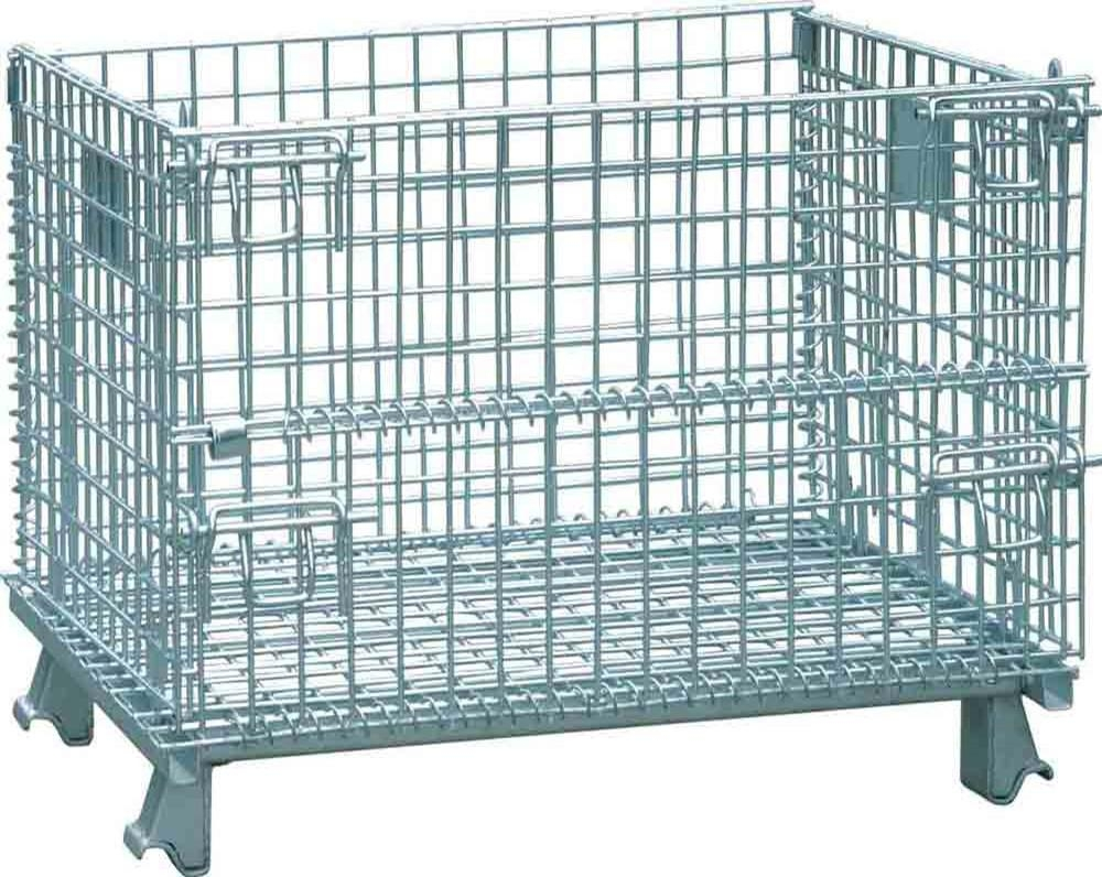 Folding wire mesh container with casters steel storage cage htf 7
