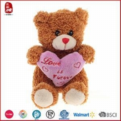 Plush Teddy Bear With Embroidered Heart