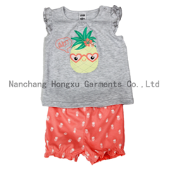 Hot sale baby short-sleeved T-shirt set with short pant