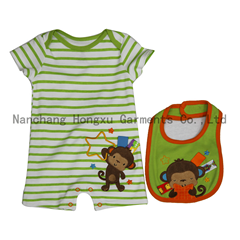 100% cotton baby rompers  with bib