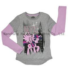 Long sleeve girl's printing T-shirt