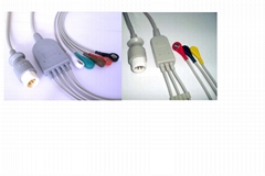 HP M1734A / M1735A  ECG Cable with Leadwires in  defibrillation