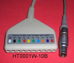 Holter 10LD ECG Cable with Lemo 10pin connector