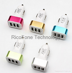 1Pc Hot Triple USB Universal Car Charger Adapter USB Socket 3 Port Car-charger