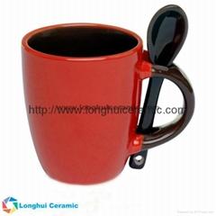 3oz Personalized color glaze promotional ceramic espresso mug with spoon