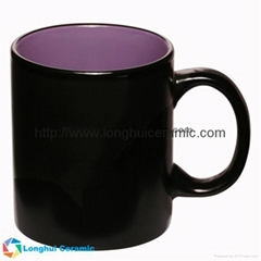 12oz Hilo black matte two-tone promotional ceramic coffee mug