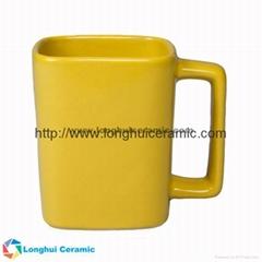 11oz Personalized color glaze square ceramic coffee mug with square handle