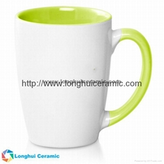 12oz Java two-tone white exterior colored interior customized ceramic coffee mug