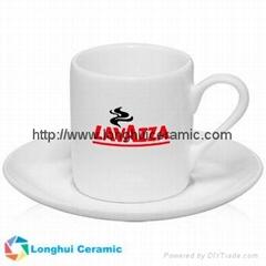 3oz Elegant white porcelain Espresso cup&saucer