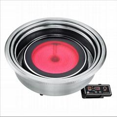 賽菱涮烤一體爐商用韓式上排煙圓形線控鑲嵌式紅外光波電熱燒烤爐