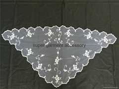 European traditional style noble classic embroidery lace white mantilla veils
