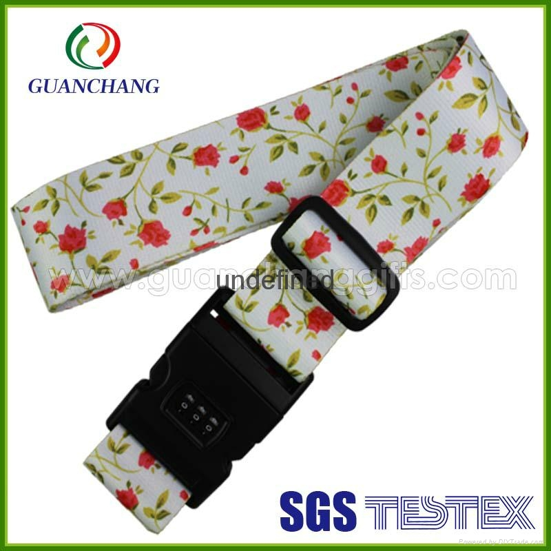 Custom promotion polyester material printed digital lock suitcase luggage strap 7