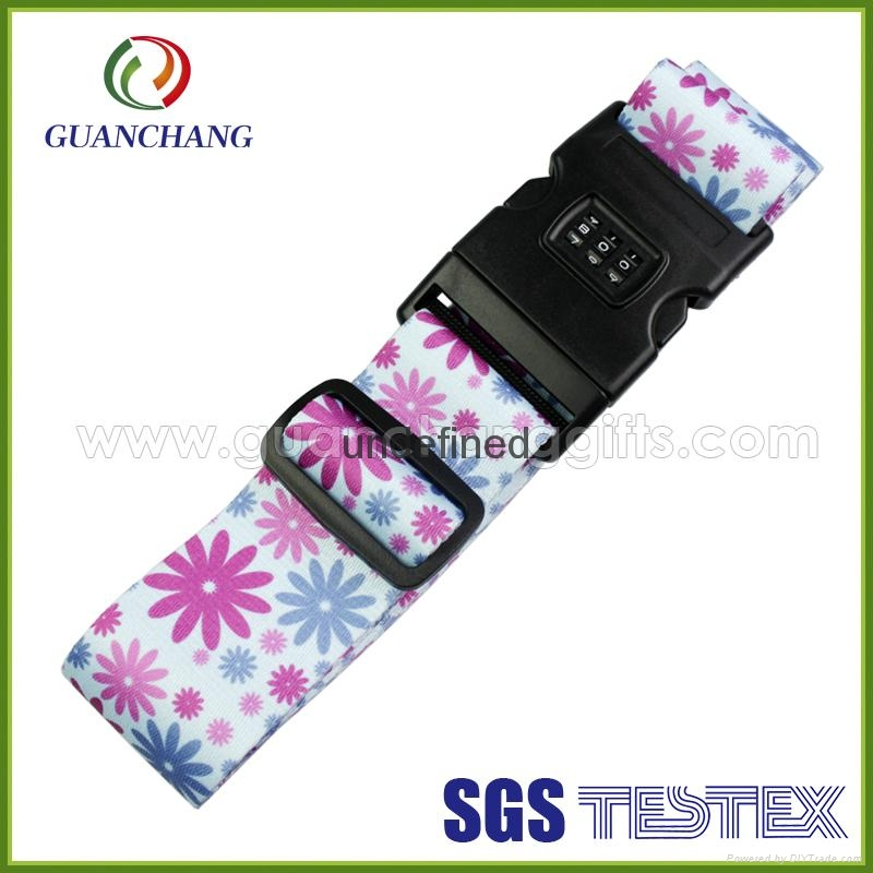 Custom promotion polyester material printed digital lock suitcase luggage strap 3