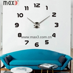 Silver Color Mirror Decorative 3d Big Wall Clock