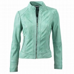 2016 New fashion women spring pu leather jacket