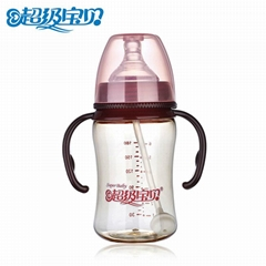 Wide scope with straw handles drop baby products neonatal ppsu thermal bottle