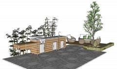 碳化木整体移动式花园户外烧烤台