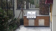 田园青城整体碳化木户外烧烤台