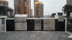 汉江天地 带冰箱大理石花园别墅户外烧烤台