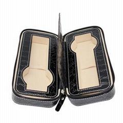 2 Slots Zippered Watch Box Traveler''s Watch Storage Case Organizer