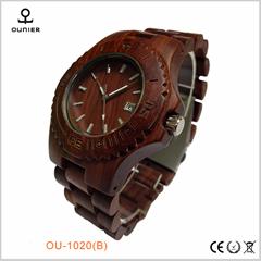 欧美流行木表100%天然红檀木手表带日历防水木手表