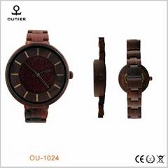 木制红檀手表复古女士天然木表石英表