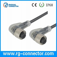 Industrial Application 90 degree electric LED wire connector plug cable