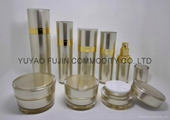 high quality elegant luxury conical acrylic jar and bottle for cosmetic packagin