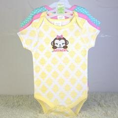 嬰儿純棉外貿三角哈衣套裝三件套批發