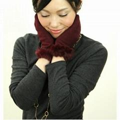 厚款可愛女式羊毛冬季保暖手套
