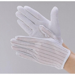 Carbon Esd Cleanroom Palm PVC Dotted Non-Slip Gloves