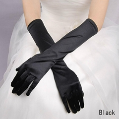 Luxury Ivory Satin Elbow Length Wedding Gloves