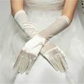 象牙白色丁中長款婚禮晚宴新娘手套 3
