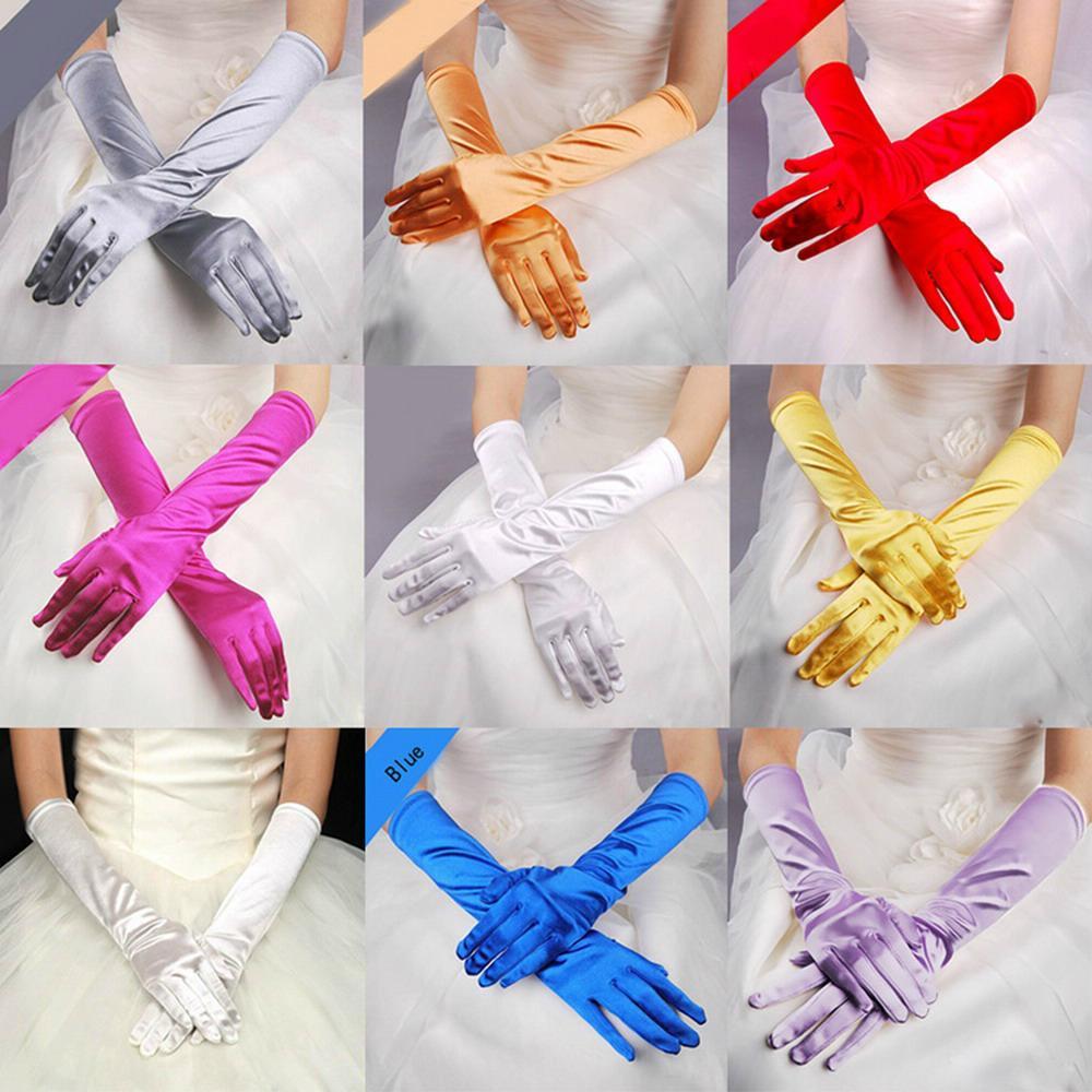 象牙白色丁中長款婚禮晚宴新娘手套 5